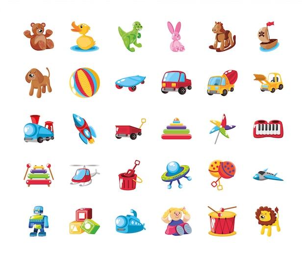 Conjunto de ícones de brinquedos fofos para crianças