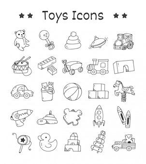 Conjunto de ícones de brinquedos no estilo doodle
