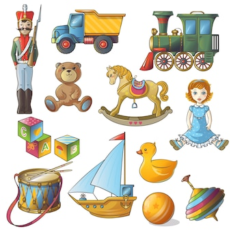Conjunto de ícones de brinquedos para crianças