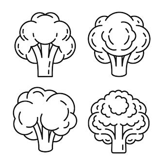 Conjunto de ícones de brócolis, estilo de estrutura de tópicos