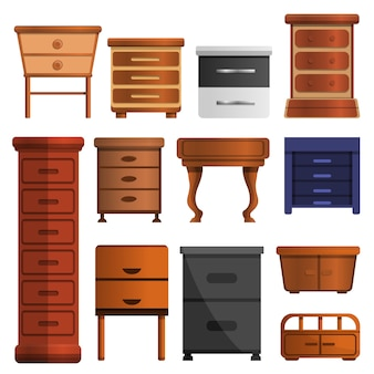 Conjunto de ícones de cabeceira de madeira. conjunto de desenhos animados de ícones de vetor de mesa de cabeceira de madeira para web design