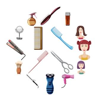 Conjunto de ícones de cabeleireiro, estilo cartoon