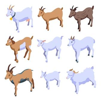 Conjunto de ícones de cabra, estilo isométrico