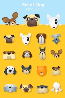 Conjunto de ícones de cachorro fofo