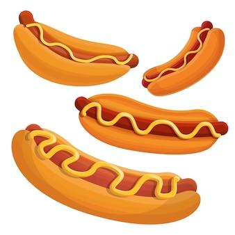 Conjunto de ícones de cachorro-quente, estilo cartoon