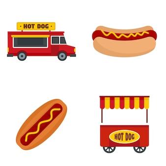 Conjunto de ícones de cachorro-quente