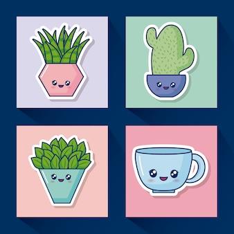 Conjunto de ícones de cacto kawaii