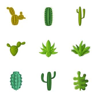 Conjunto de ícones de cactos, estilo cartoon