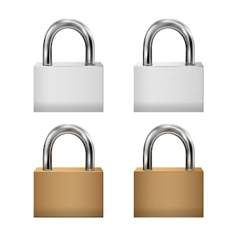 Conjunto de ícones de cadeado, cadeados fechados metal ouro, prata, estilo realista 3d