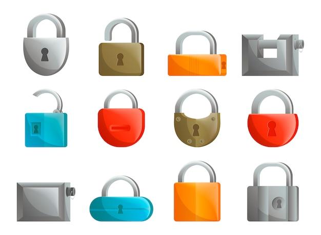 Conjunto de ícones de cadeado em design plano