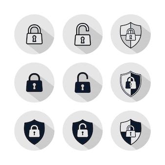 Conjunto de ícones de cadeado, ilustração de cadeado isolado no círculo cinza