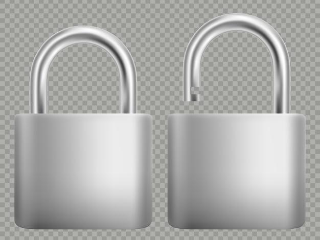 Conjunto de ícones de cadeado. isolado no fundo branco fechado e aberto.