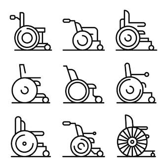 Conjunto de ícones de cadeira de rodas, estilo de estrutura de tópicos