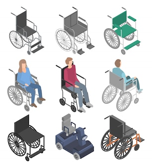 Conjunto de ícones de cadeira de rodas, estilo isométrico