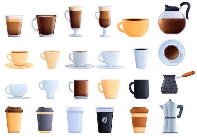 Conjunto de ícones de café. conjunto de desenhos animados de ícones de vetores de café