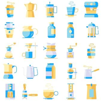 Conjunto de ícones de café cores