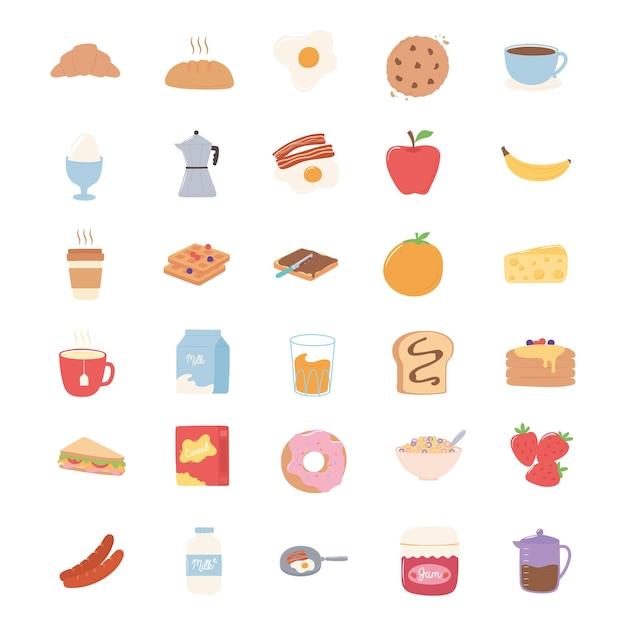 Conjunto de ícones de café da manhã, croissant pão suco frutas sanduíche panquecas de leite