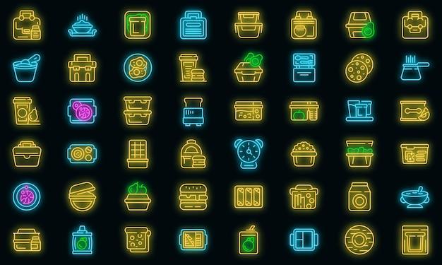 Conjunto de ícones de café da manhã escolar. conjunto de contorno de ícones de vetor de café da manhã escolar cor de néon no preto