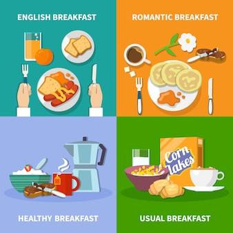 Conjunto de ícones de café da manhã plana