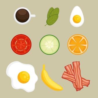 Conjunto de ícones de café da manhã
