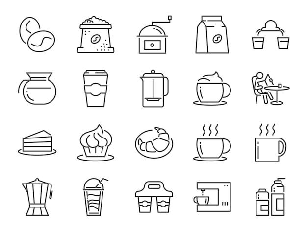 Conjunto de ícones de café e café.