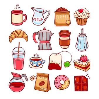 Conjunto de ícones de café e sobremesas