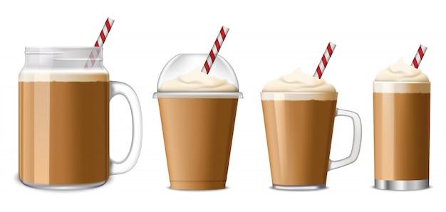 Conjunto de ícones de café gelado