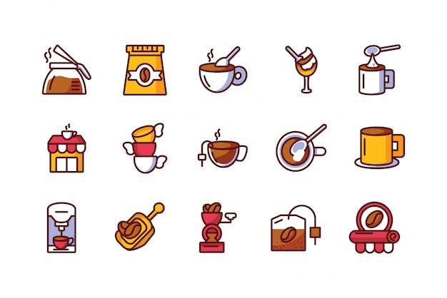Conjunto de ícones de café isolado vector design