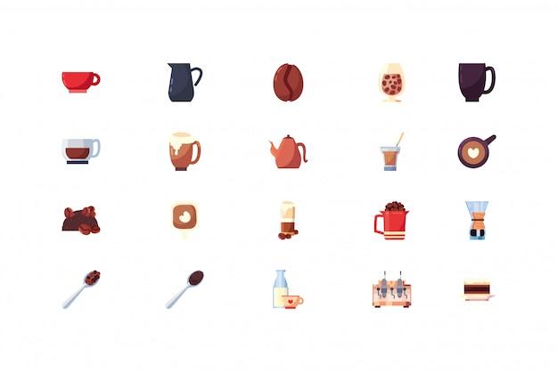 Conjunto de ícones de café isolado