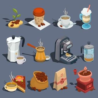 Conjunto de ícones de café isométricos vetoriais, adesivos, impressões, elementos de design