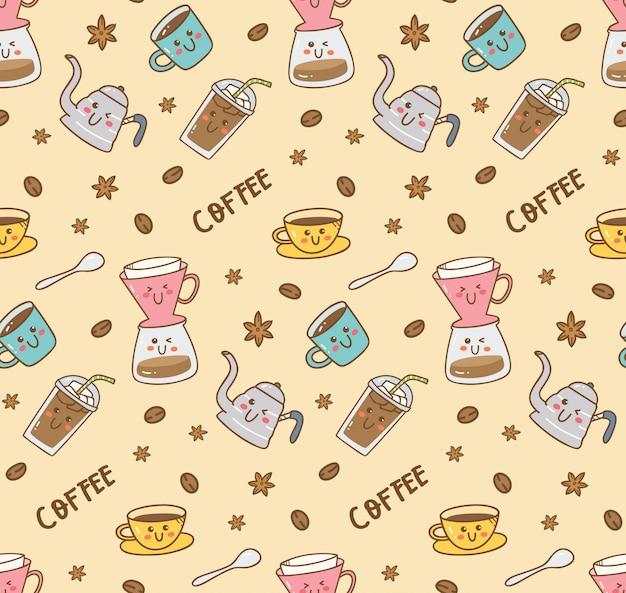 Conjunto de ícones de café padrão no estilo kawaii doodle