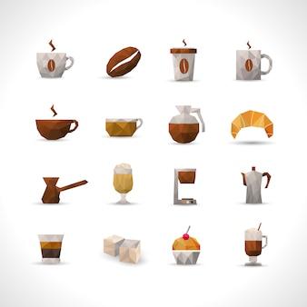 Conjunto de ícones de café poligonal