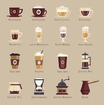 Conjunto de ícones de café.