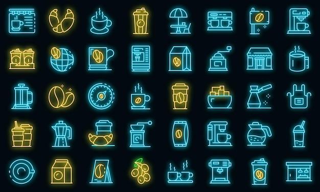 Conjunto de ícones de cafeteria. conjunto de contorno de ícones de vetor de café, cor neon no preto