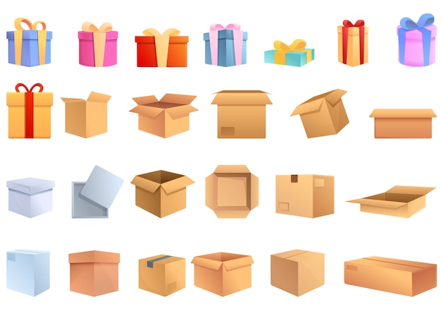 Conjunto de ícones de caixa. conjunto de desenhos animados de ícones de vetor de caixa