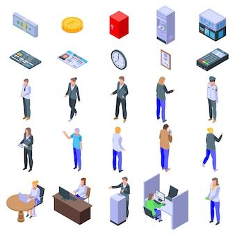 Conjunto de ícones de caixa de banco