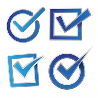 Conjunto de ícones de caixa de seleção azul