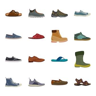 Conjunto de ícones de calçado dos desenhos animados, sapatos da moda.