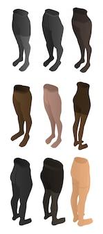 Conjunto de ícones de calças justas, estilo isométrico