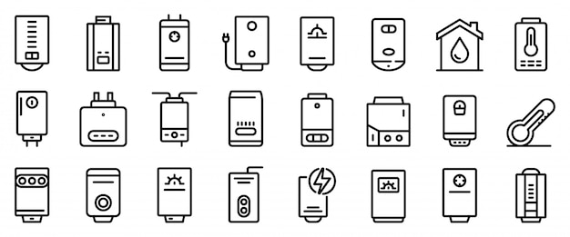 Conjunto de ícones de caldeira, estilo de estrutura de tópicos