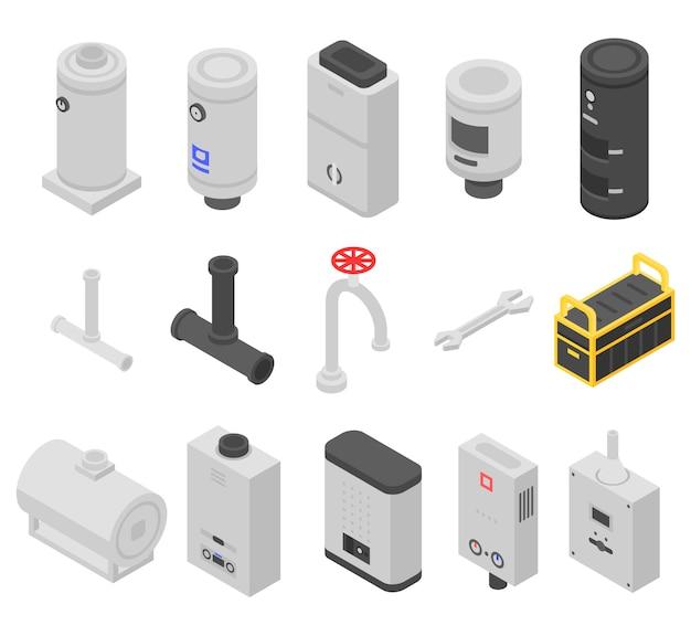 Conjunto de ícones de caldeira, estilo isométrico