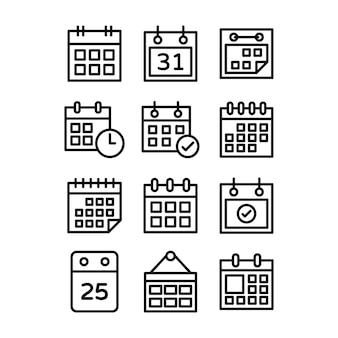 Conjunto de ícones de calendário de mesa