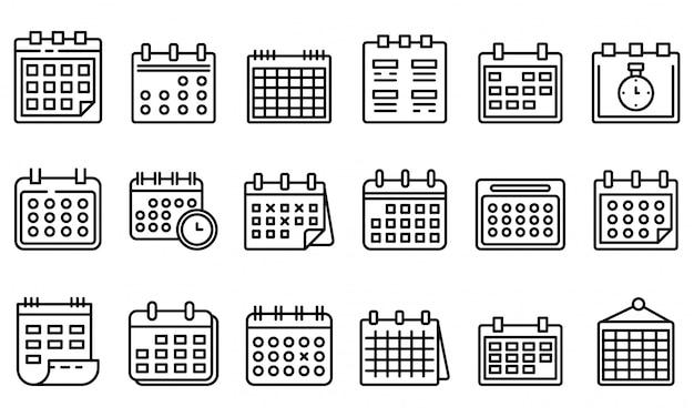 Conjunto de ícones de calendário, estilo de estrutura de tópicos