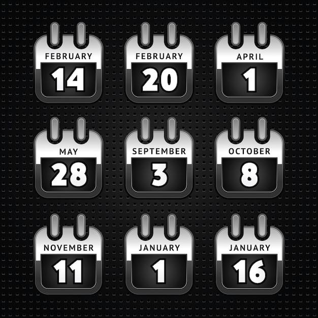 Conjunto de ícones de calendário web, superfície de metal - segundo