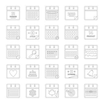 Conjunto de ícones de calendário