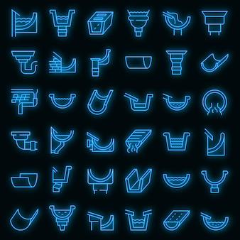Conjunto de ícones de calha. conjunto de contorno de cor de néon de ícones de vetor de sarjeta em preto