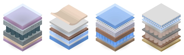 Conjunto de ícones de camada de colchão, estilo isométrico