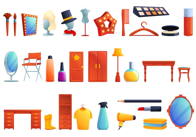 Conjunto de ícones de camarim, estilo cartoon