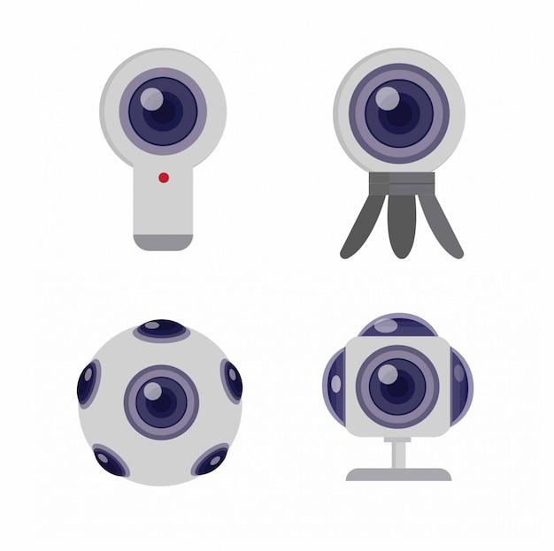 Conjunto de ícones de câmera 360 ilustração plana