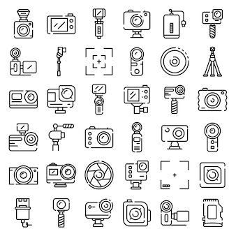Conjunto de ícones de câmera de ação, estilo de estrutura de tópicos